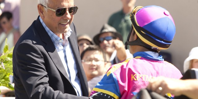 Owner George Krikorian, left, congratulates jockey Rafael Bejarano after guiding Big Book to victory inthe co-featured $200,000 Fleet Treat Stakes Saturday, July 25, 2015 at Del Mar Race Track, Del Mar, CA.©Benoit Photo
