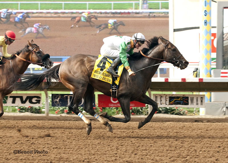 Wild Dude and jockey Flavien Prat, right, blow right on by favored Masochistic (Tyler Baze) to win the Grade I $300,000 Bing Crosby Stakes Sunday, July 26, 2015 at Del Mar Race Track, Del Mar, CA.©Benoit Photo