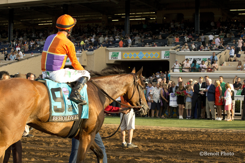 Spendthrift Farms' Beholder and jockey Gary Stevens head into the winner's circle for pictures after dusting the boys to easily win the Grade I $1,000,000 TVG Pacific Classic Saturday, August 22, 2015 at Del Mar Thoroughbred Club, Del Mar, CA©Benoit Photo
