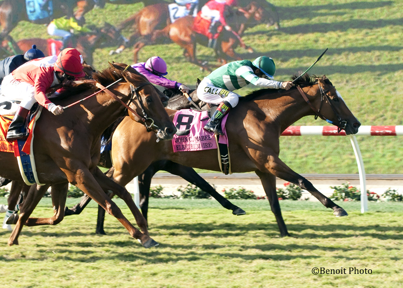 Hronis Racing's Elektrum and jockey Victor Espinoza, right, hold off all to win the Grade II $250,000 John C. Mabee Stakes Saturday, August 8, 2015 at the Del Mar Thoroughbred Club, Del Mar, CA.©Benoit Photo©Benoit Photo