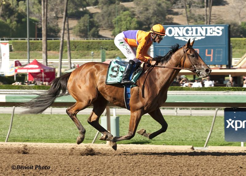 Beholder and jockey Gary Stevens win the Grade I, $300,000 Zenyatta Stakes, Saturday, September 26, 2015 at Santa Anita Park, Arcadia CA.© BENOIT PHOTO